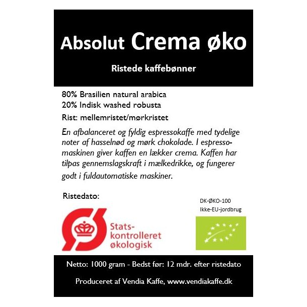 Absolut Crema økologisk 1kg friskristede bønner - Ristedato d. 23. marts